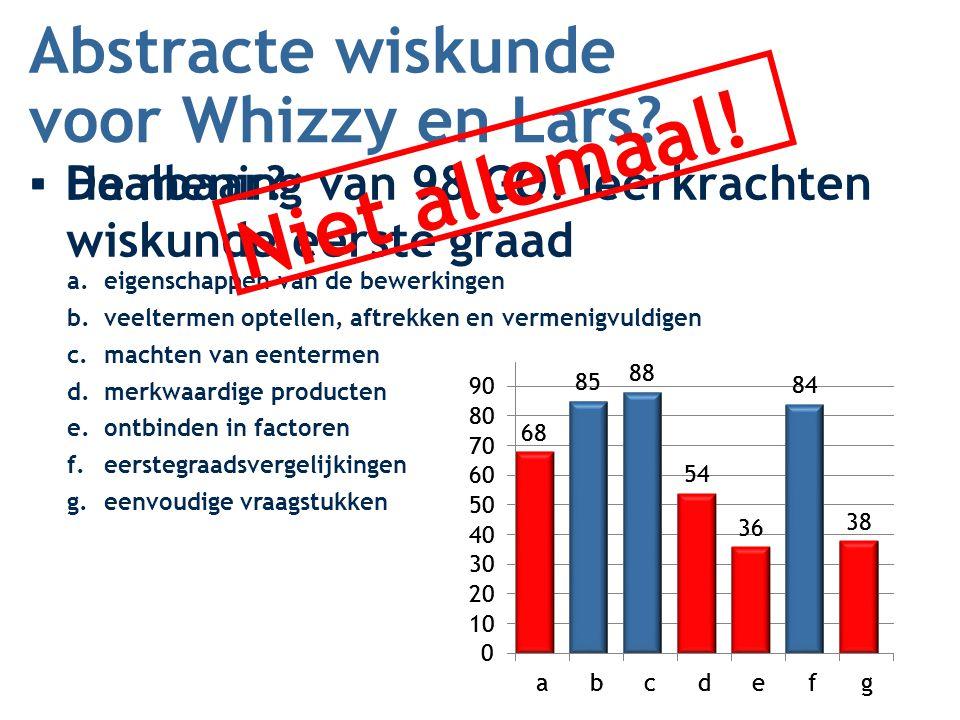 Niet allemaal! Abstracte wiskunde voor Whizzy en Lars Haalbaar