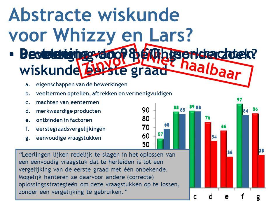 Abstracte wiskunde voor Whizzy en Lars Zinvol Niet haalbaar