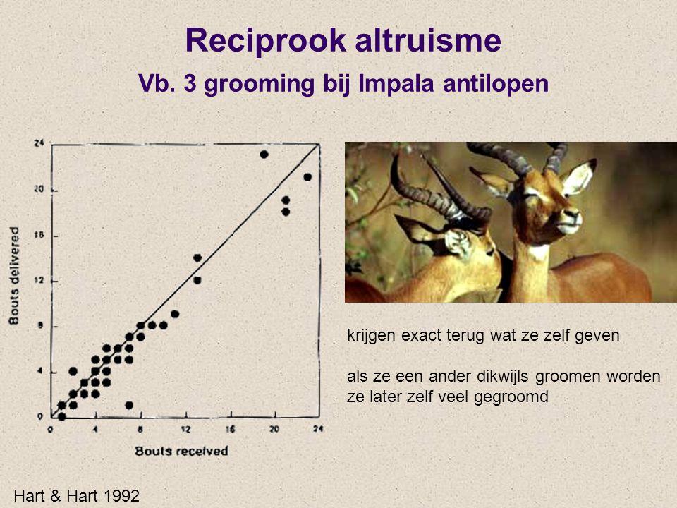 Reciprook altruisme Vb. 3 grooming bij Impala antilopen