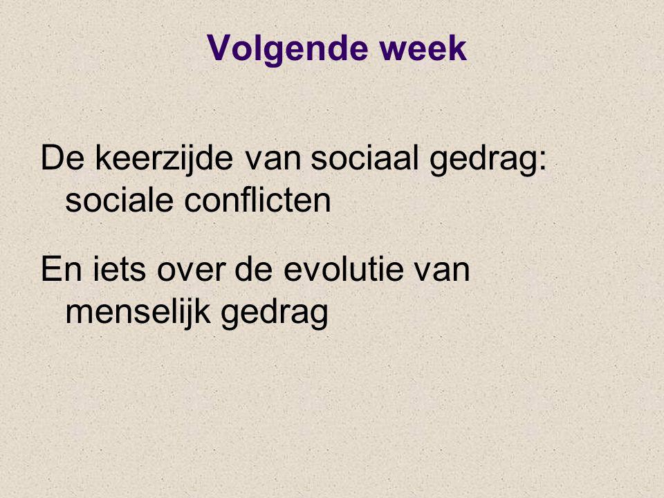 Volgende week De keerzijde van sociaal gedrag: sociale conflicten