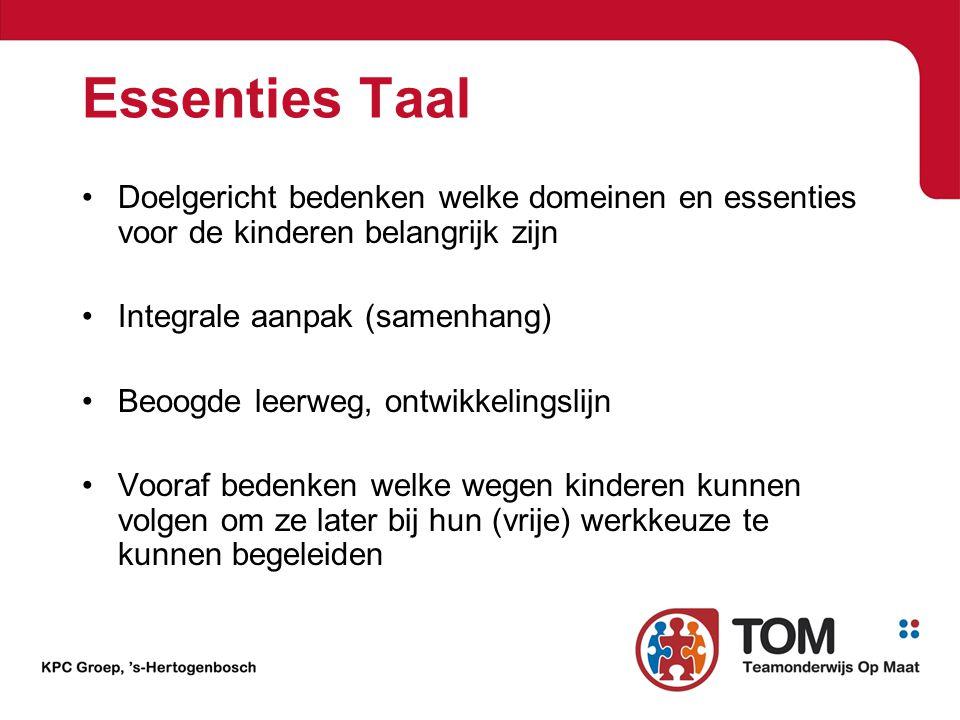 Essenties Taal Doelgericht bedenken welke domeinen en essenties voor de kinderen belangrijk zijn. Integrale aanpak (samenhang)