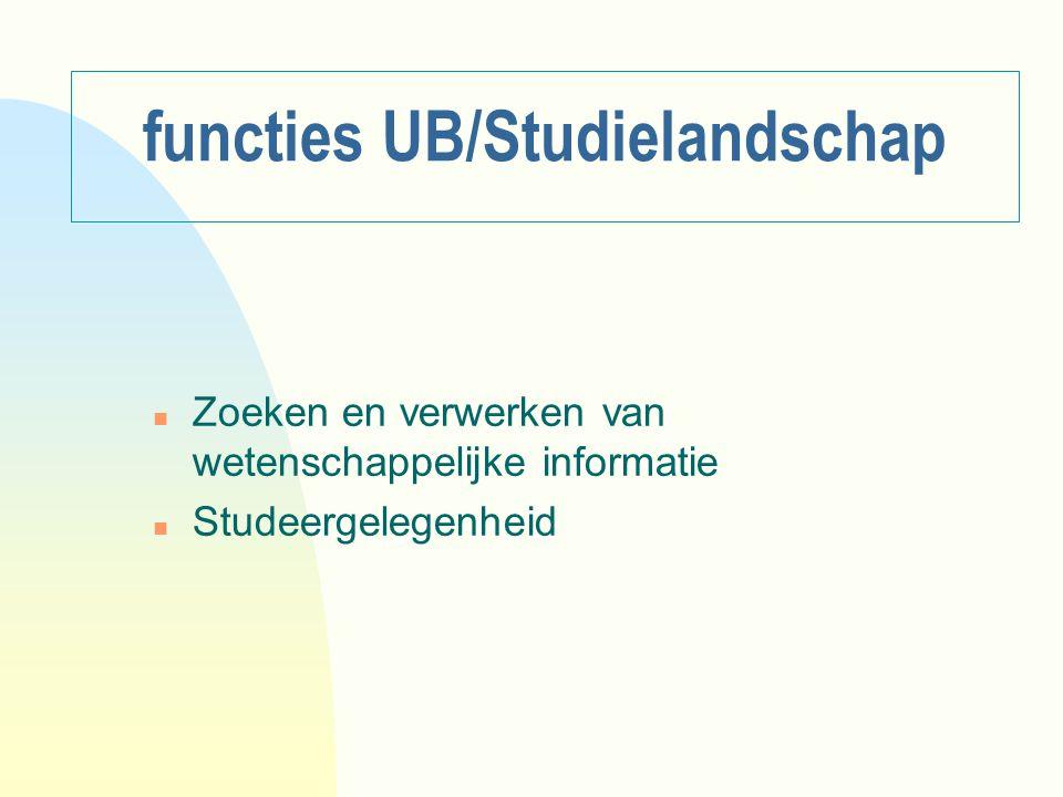 functies UB/Studielandschap