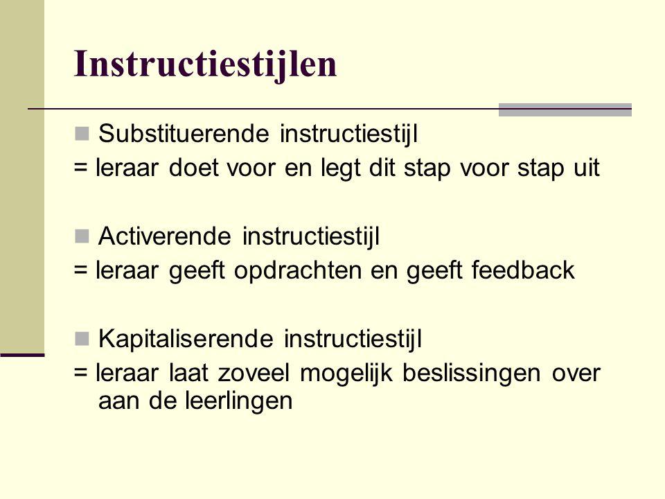 Instructiestijlen Substituerende instructiestijl