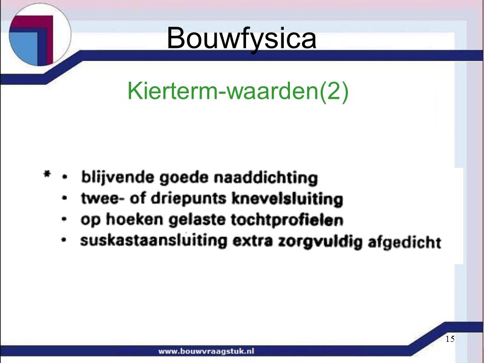 Bouwfysica Kierterm-waarden(2)