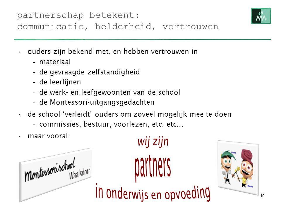 partnerschap betekent: communicatie, helderheid, vertrouwen