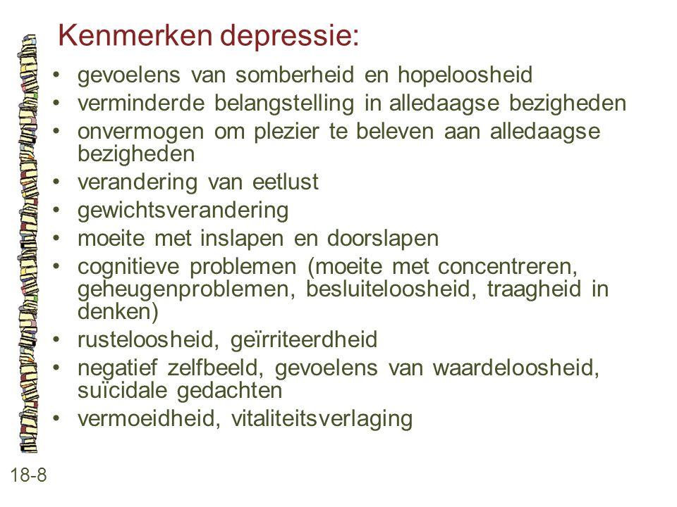 Kenmerken depressie: • gevoelens van somberheid en hopeloosheid