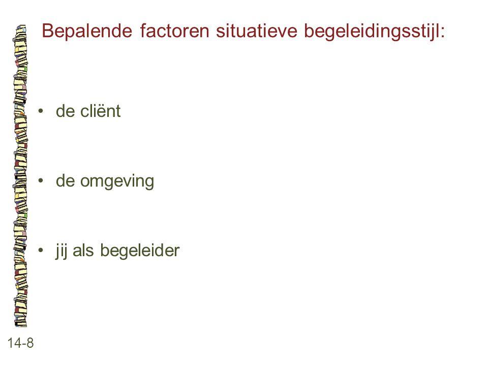 Bepalende factoren situatieve begeleidingsstijl: