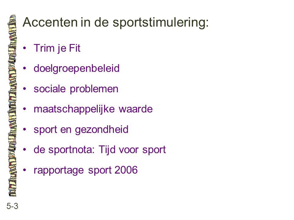 Accenten in de sportstimulering: