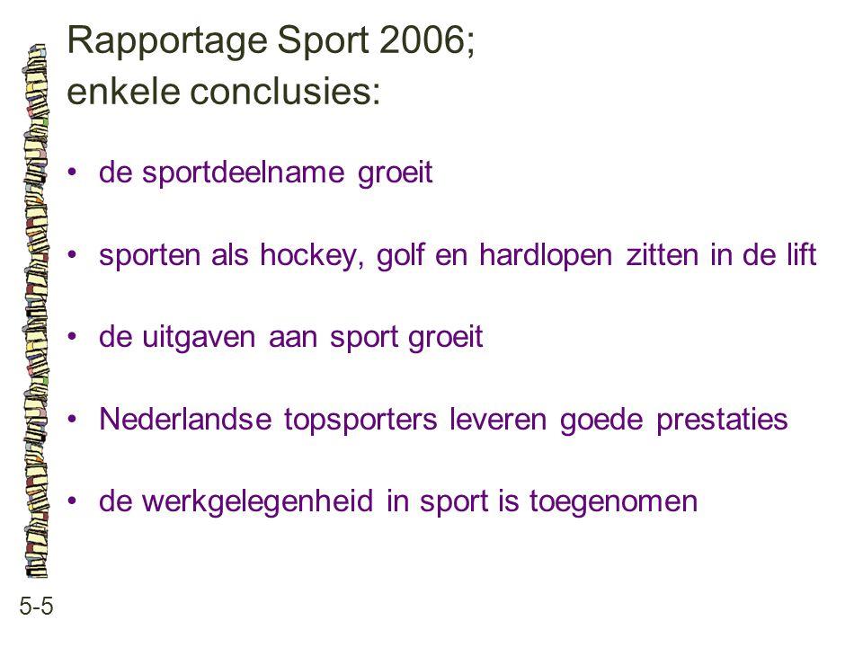 Rapportage Sport 2006; enkele conclusies: