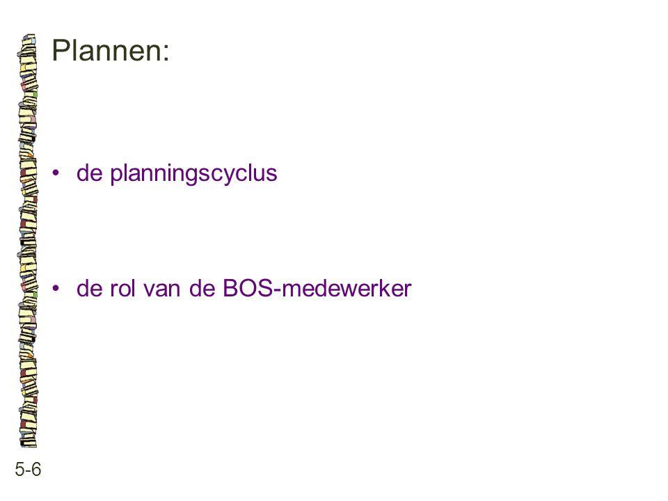 Plannen: • de planningscyclus • de rol van de BOS-medewerker 5-6