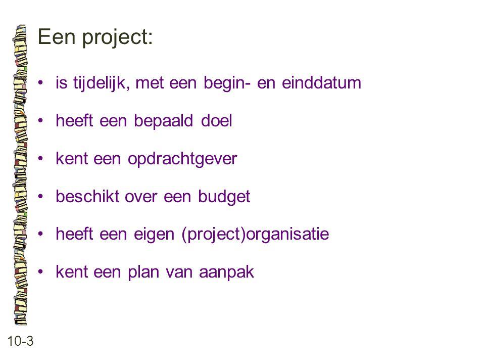 Een project: • is tijdelijk, met een begin- en einddatum