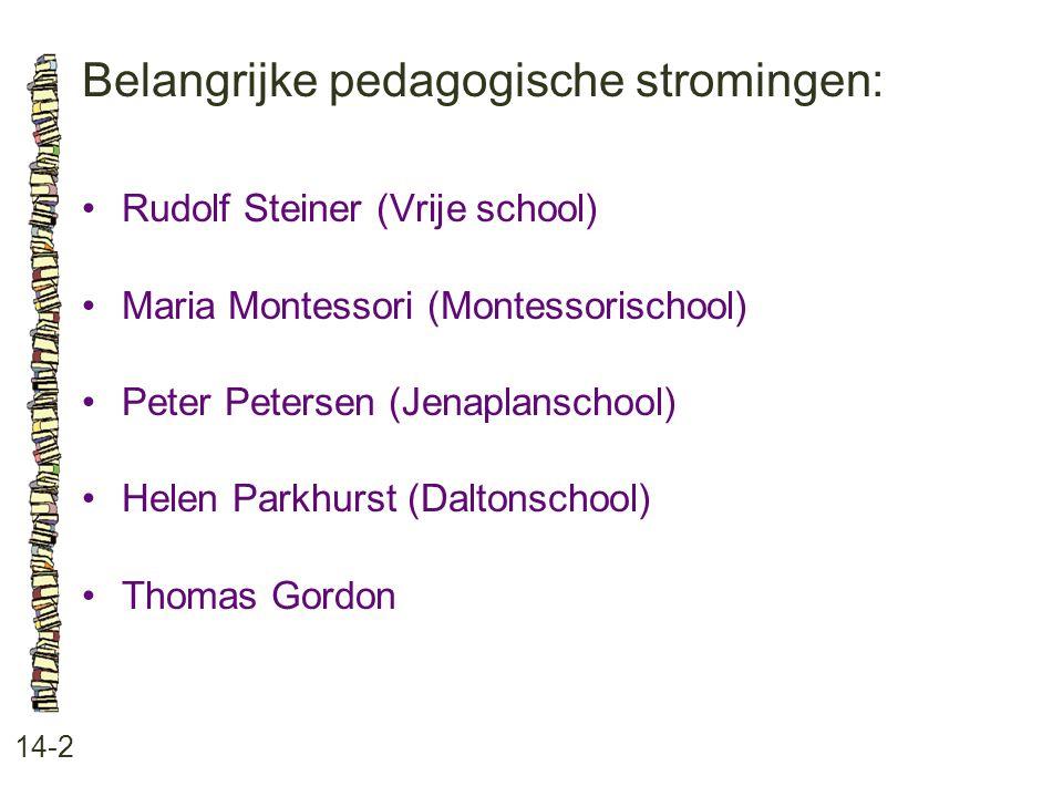 Belangrijke pedagogische stromingen: