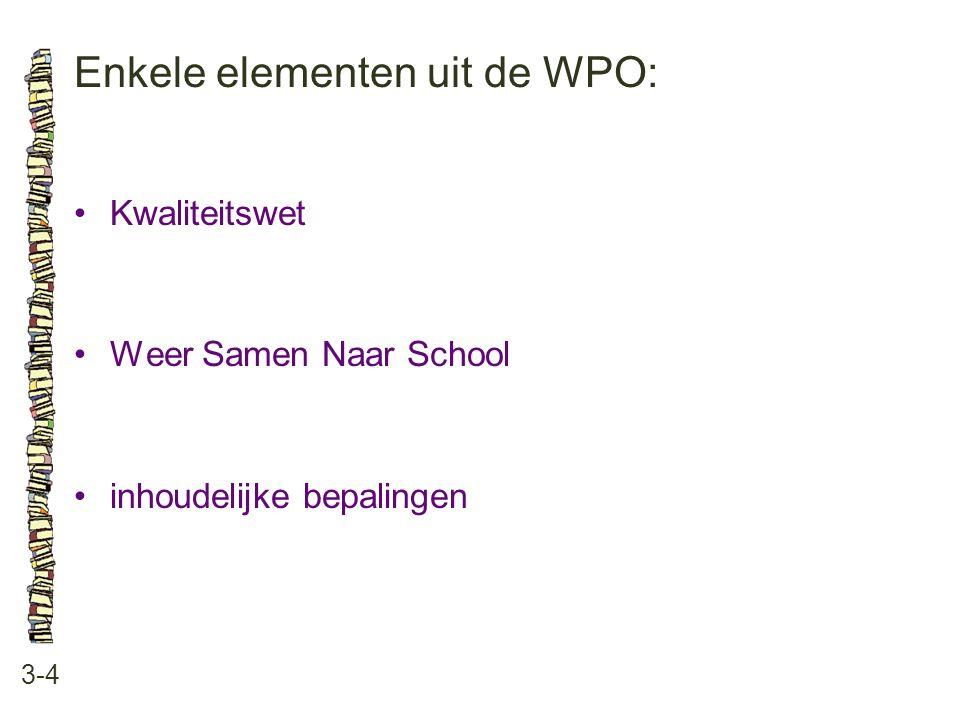Enkele elementen uit de WPO: