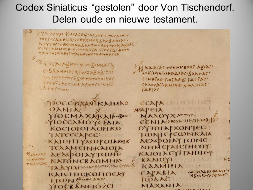 Codex Siniaticus gestolen door Von Tischendorf