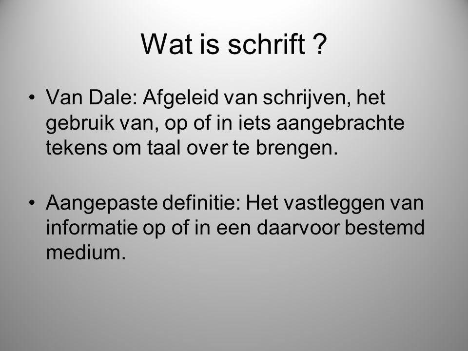 Wat is schrift Van Dale: Afgeleid van schrijven, het gebruik van, op of in iets aangebrachte tekens om taal over te brengen.