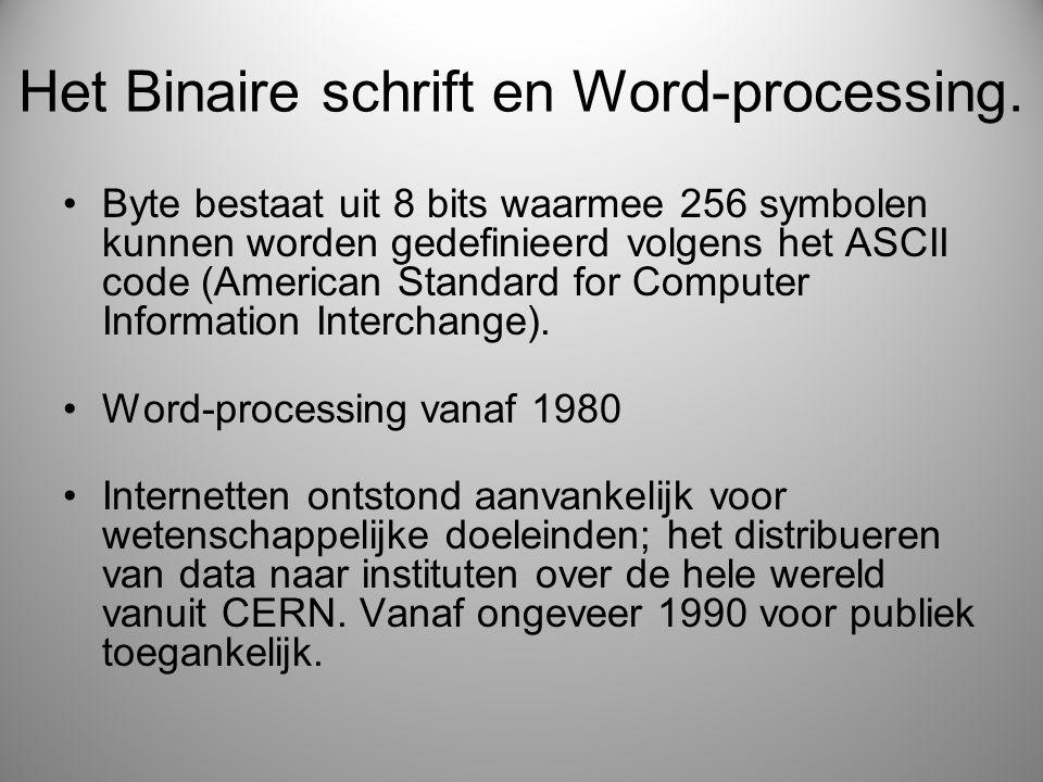 Het Binaire schrift en Word-processing.