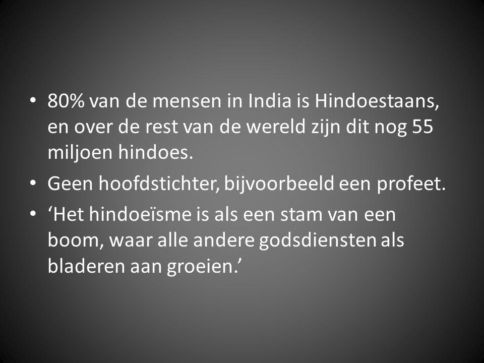 80% van de mensen in India is Hindoestaans, en over de rest van de wereld zijn dit nog 55 miljoen hindoes.
