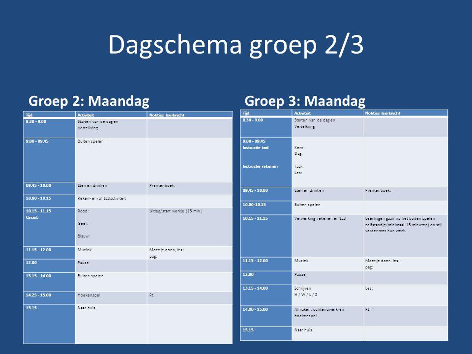 Dagschema groep 2/3 Groep 2: Maandag Groep 3: Maandag Tijd Activiteit