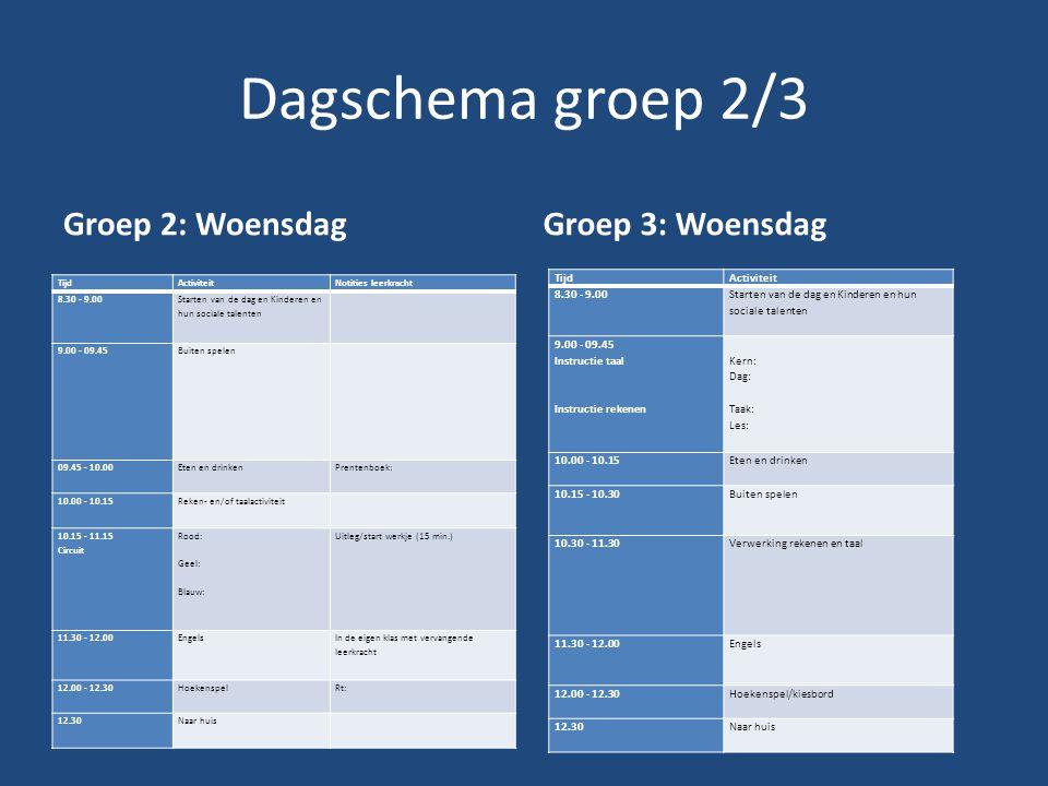 Dagschema groep 2/3 Groep 2: Woensdag Groep 3: Woensdag Tijd