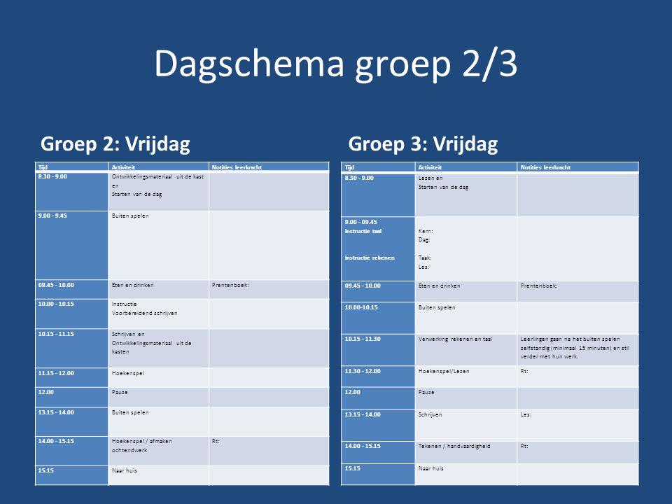 Dagschema groep 2/3 Groep 2: Vrijdag Groep 3: Vrijdag Tijd Activiteit