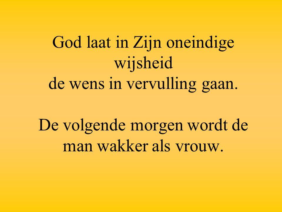 God laat in Zijn oneindige wijsheid de wens in vervulling gaan