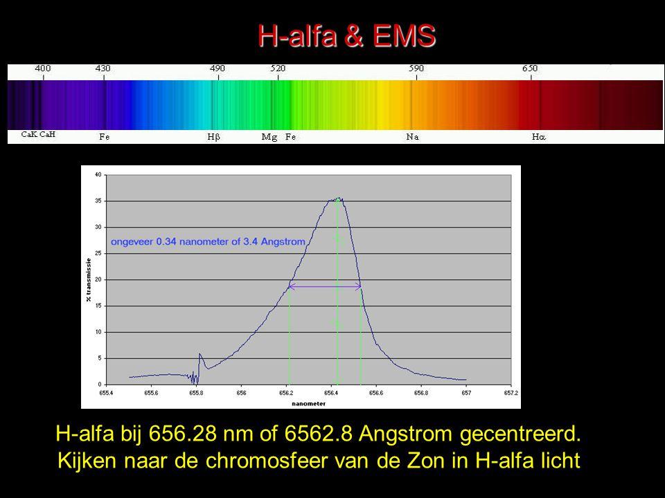 H-alfa & EMS H-alfa bij 656.28 nm of 6562.8 Angstrom gecentreerd.