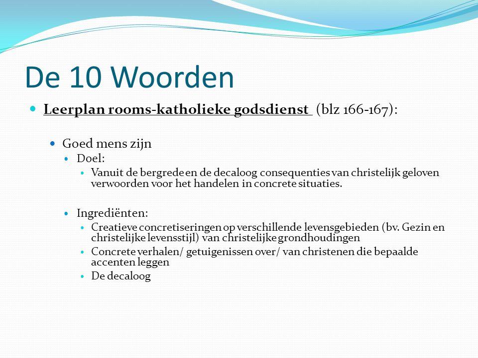 De 10 Woorden Leerplan rooms-katholieke godsdienst (blz 166-167):