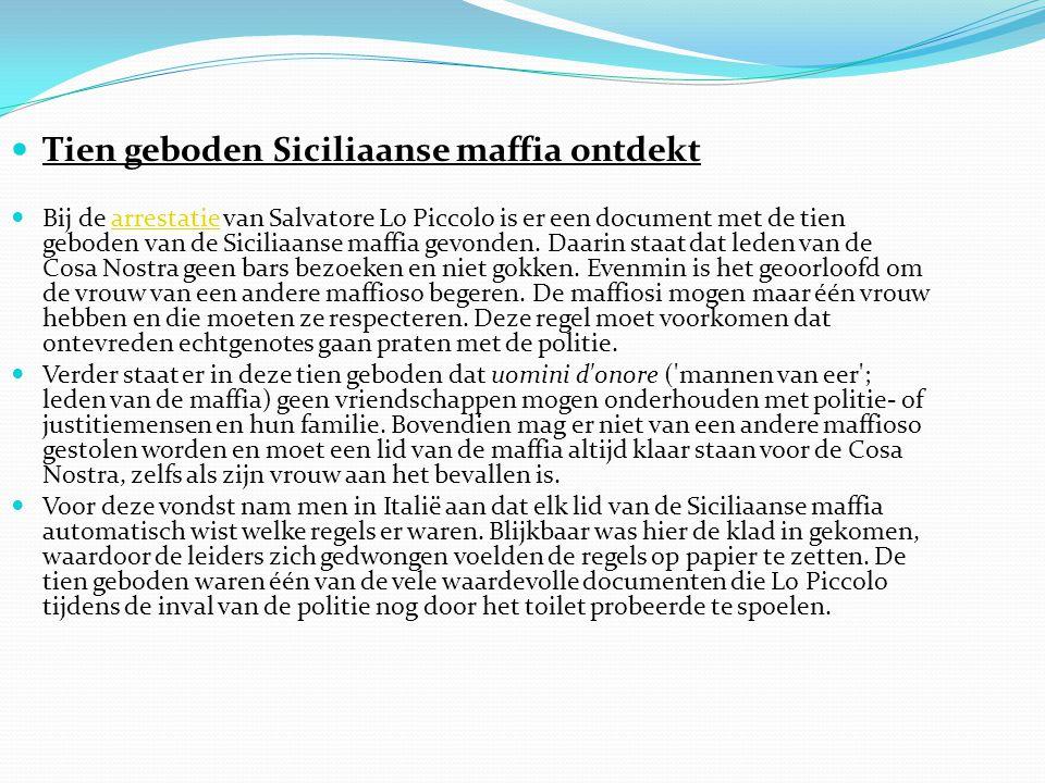 Tien geboden Siciliaanse maffia ontdekt