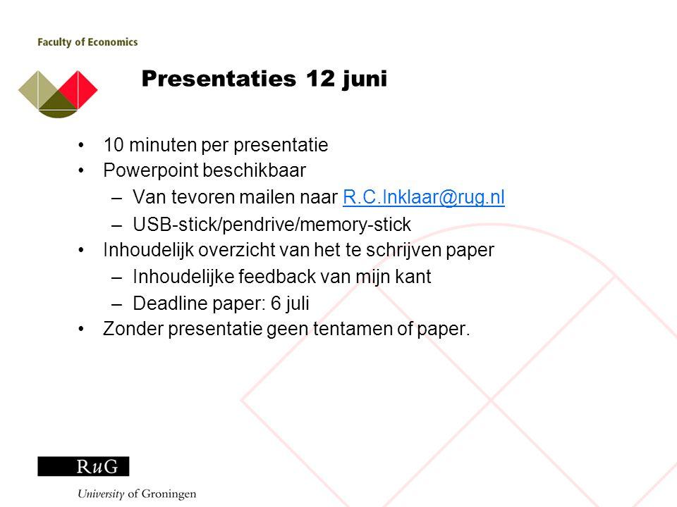 Presentaties 12 juni 10 minuten per presentatie Powerpoint beschikbaar