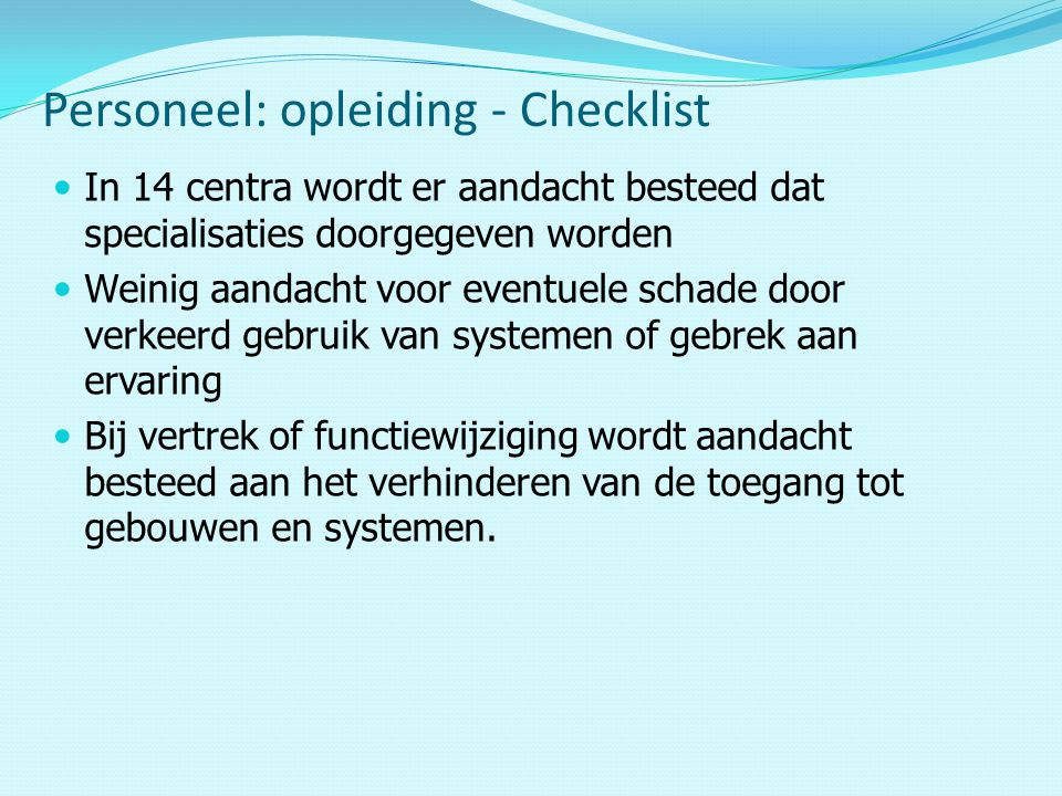 Personeel: opleiding - Checklist