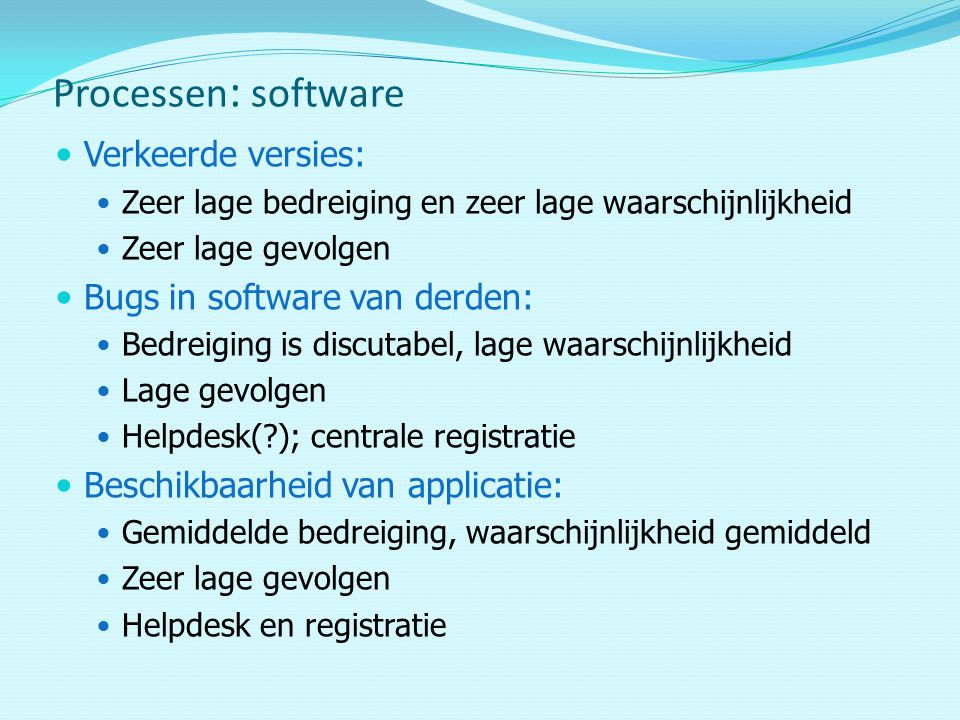Processen: software Verkeerde versies: Bugs in software van derden: