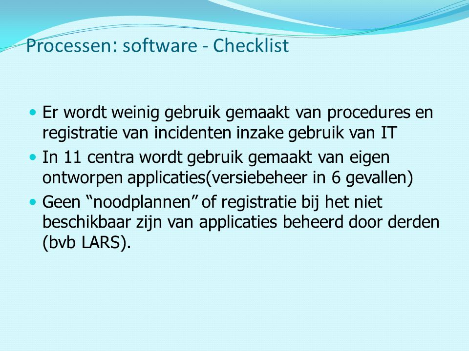 Processen: software - Checklist