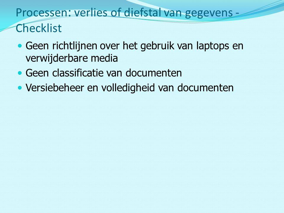 Processen: verlies of diefstal van gegevens - Checklist