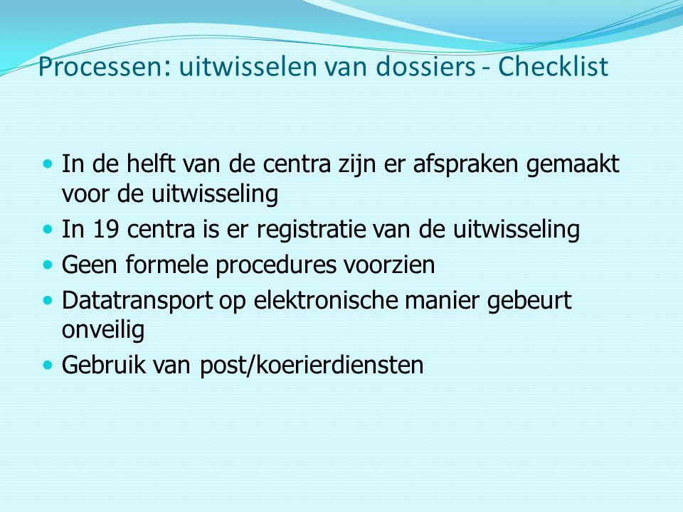Processen: uitwisselen van dossiers - Checklist