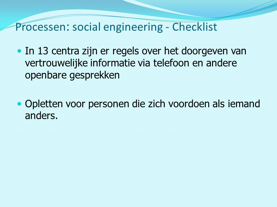 Processen: social engineering - Checklist