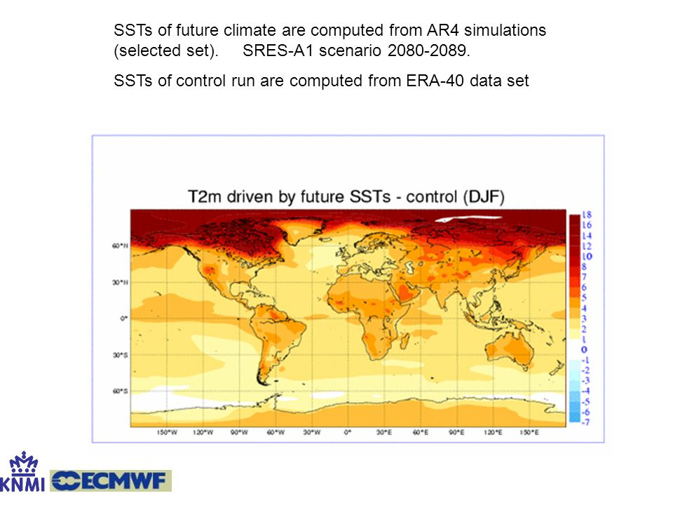 SSTs of future climate are computed from AR4 simulations (selected set). SRES-A1 scenario