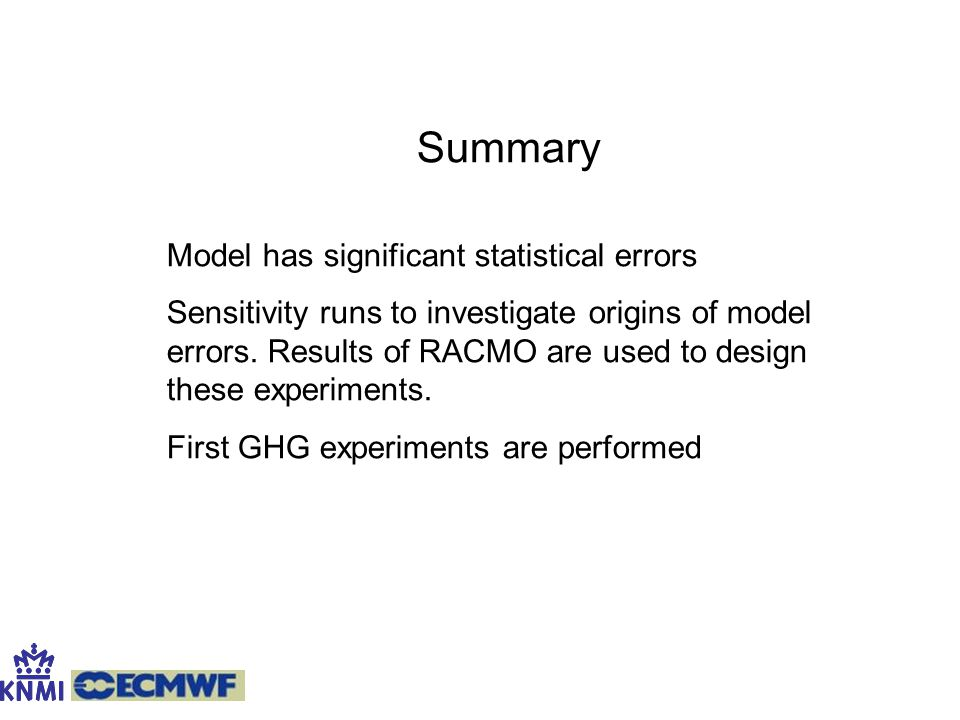 Summary Model has significant statistical errors