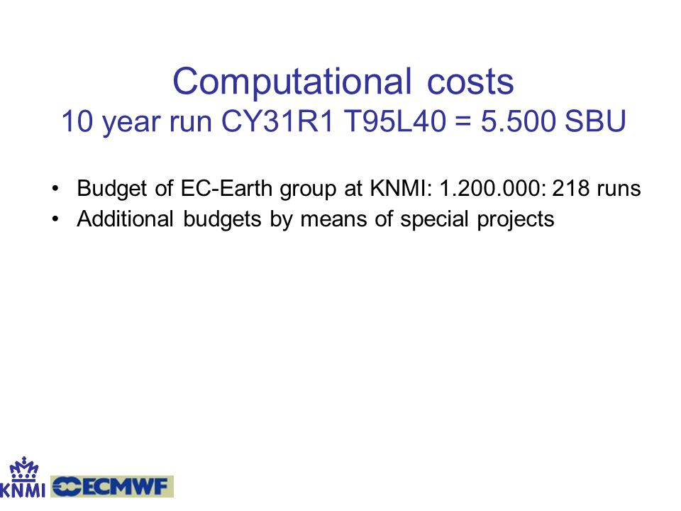 Computational costs 10 year run CY31R1 T95L40 = 5.500 SBU