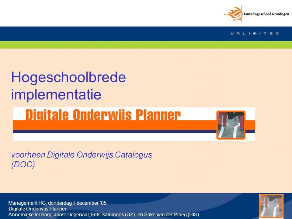 Hogeschoolbrede implementatie