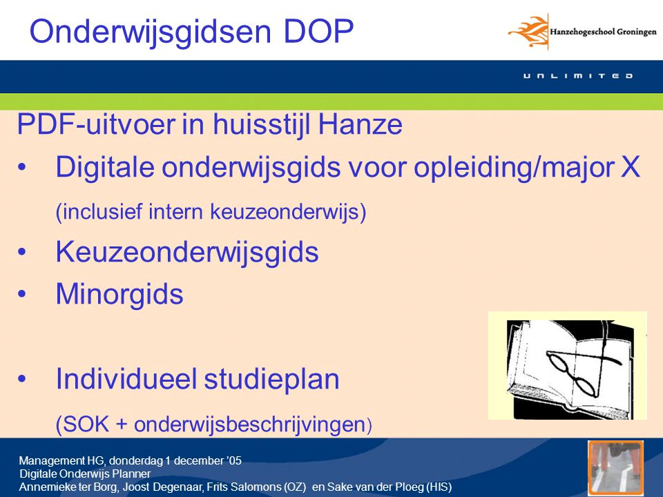 Onderwijsgidsen DOP PDF-uitvoer in huisstijl Hanze