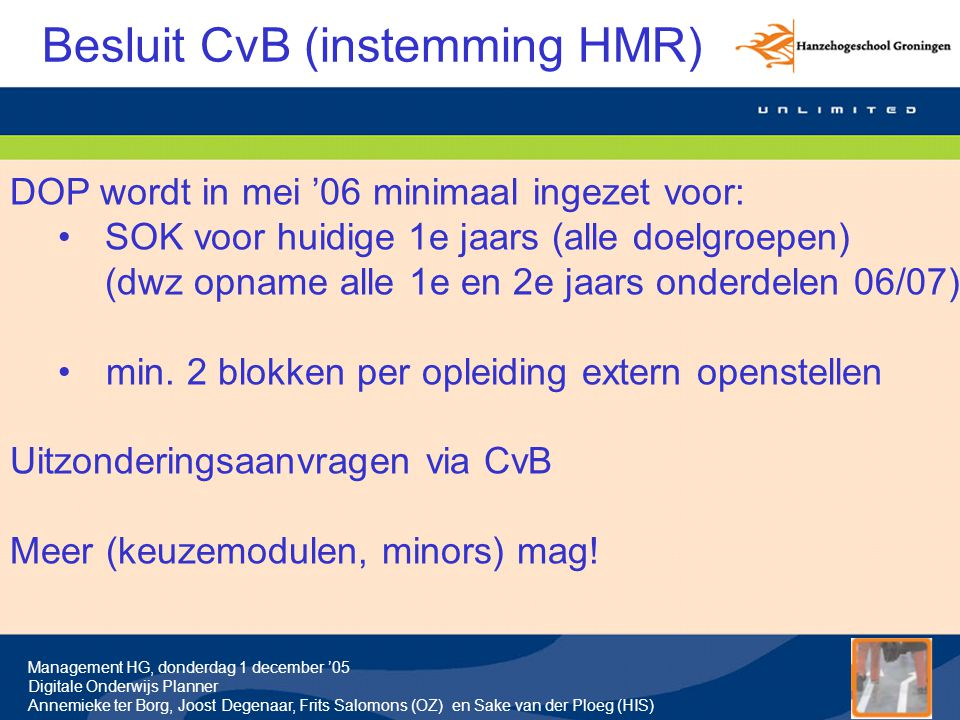 Besluit CvB (instemming HMR)