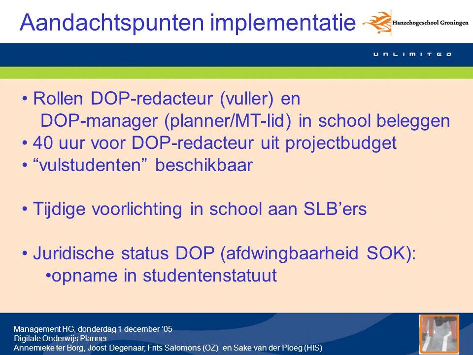 Aandachtspunten implementatie