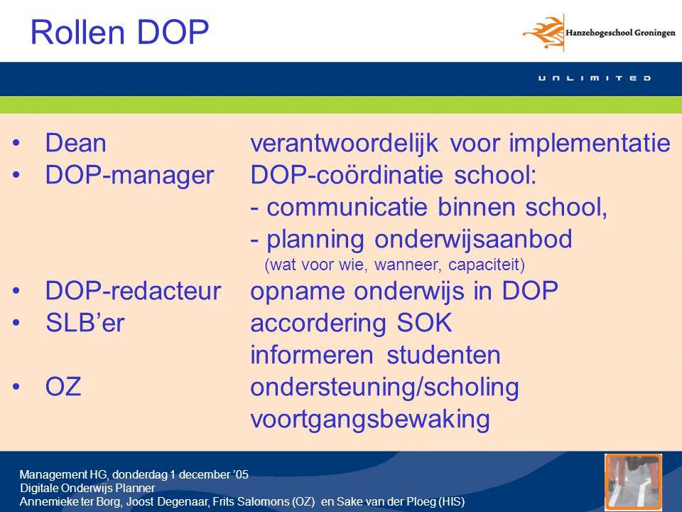Rollen DOP Dean verantwoordelijk voor implementatie