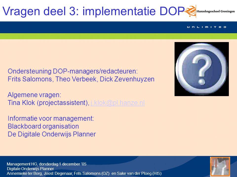 Vragen deel 3: implementatie DOP