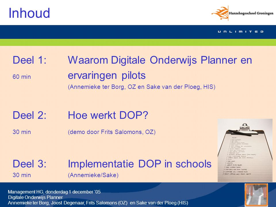 Inhoud Deel 1: Waarom Digitale Onderwijs Planner en