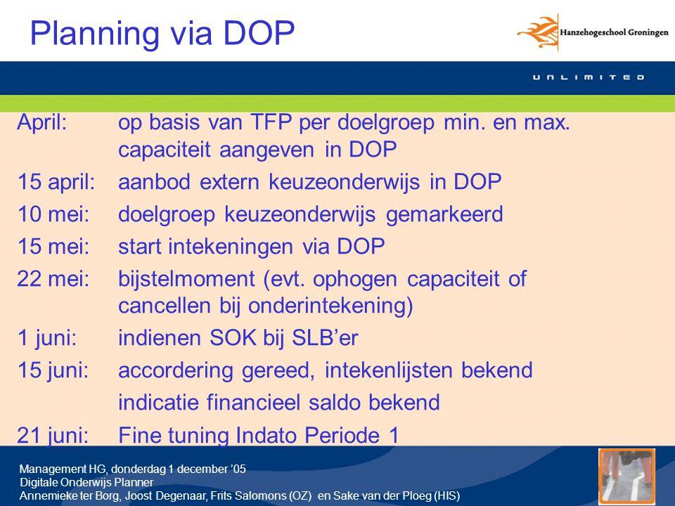 Planning via DOP April: op basis van TFP per doelgroep min. en max. capaciteit aangeven in DOP. 15 april: aanbod extern keuzeonderwijs in DOP.