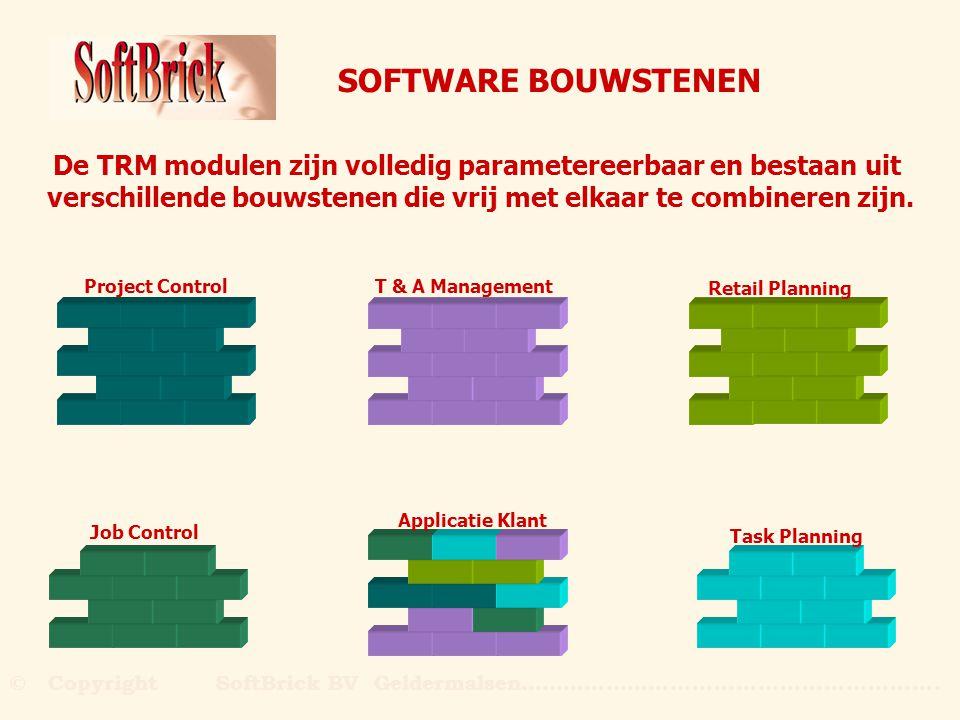 SOFTWARE BOUWSTENEN De TRM modulen zijn volledig parametereerbaar en bestaan uit. verschillende bouwstenen die vrij met elkaar te combineren zijn.
