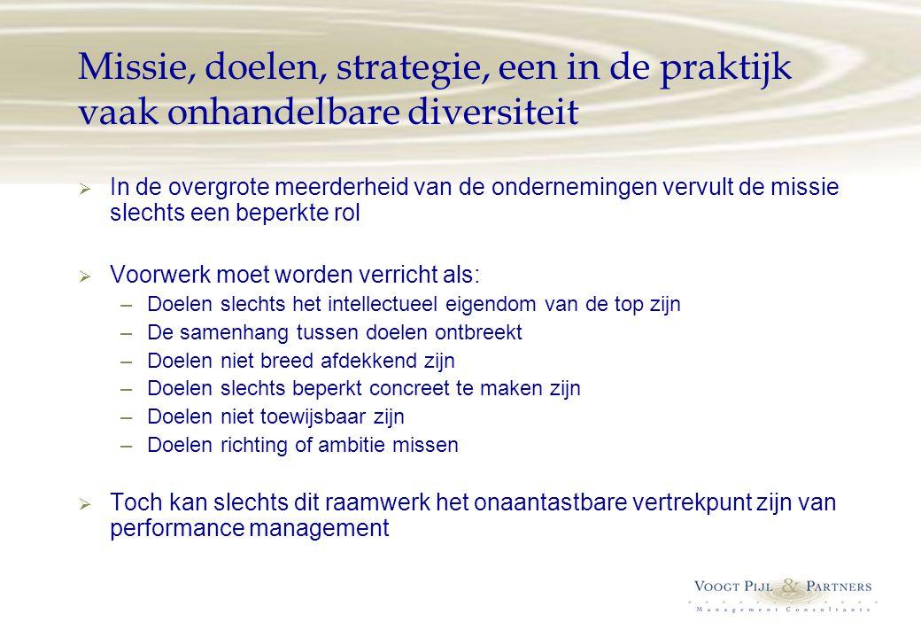 Missie, doelen, strategie, een in de praktijk vaak onhandelbare diversiteit