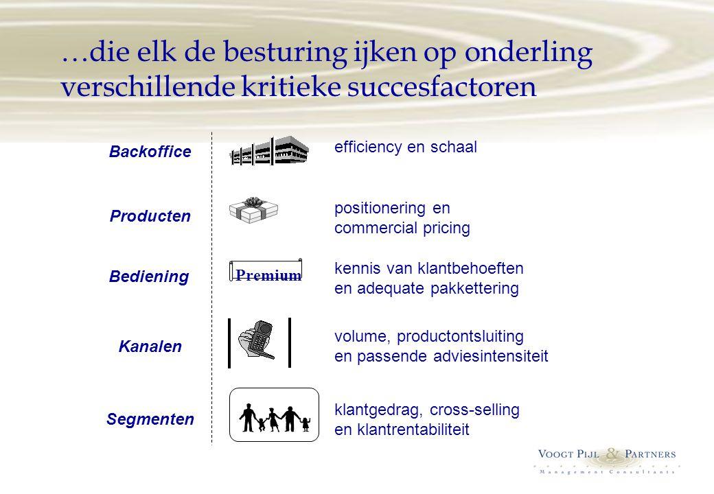 …die elk de besturing ijken op onderling verschillende kritieke succesfactoren