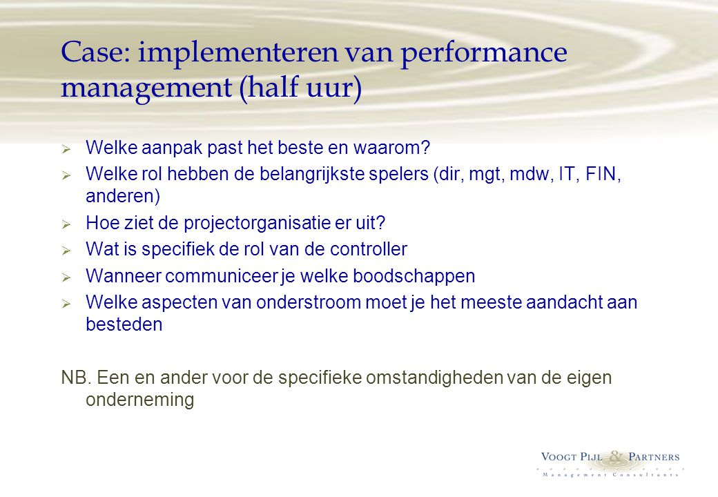 Case: implementeren van performance management (half uur)